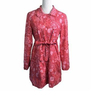 Garnet Hill Pink Floral Roll Up Sleeve Trench Coat